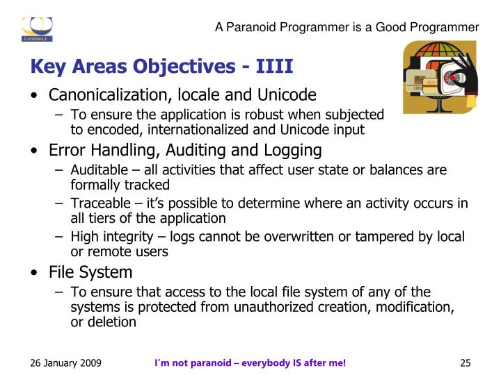 Key Areas Objectives - IIII