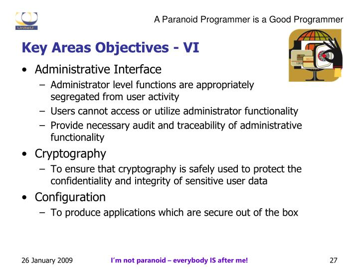 Key Areas Objectives - VI