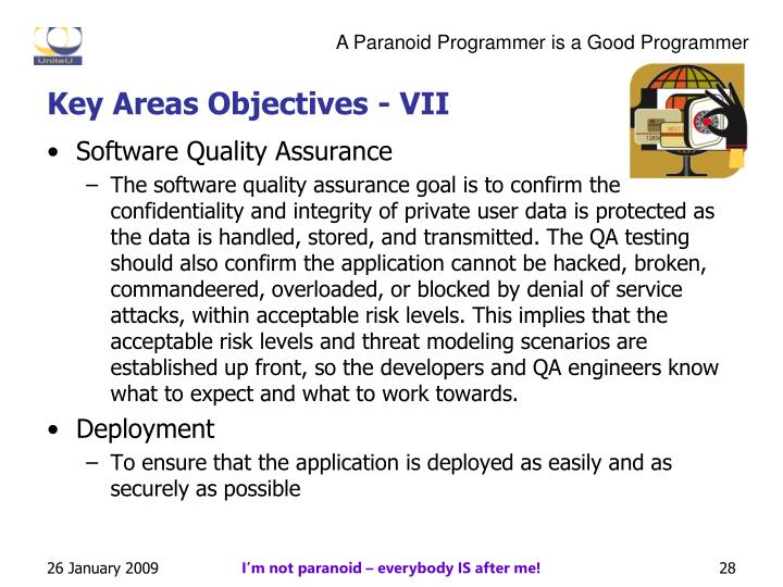 Key Areas Objectives - VII