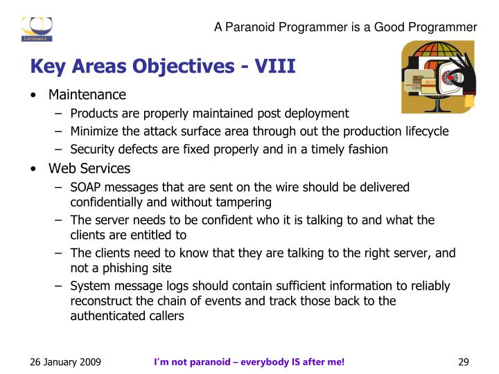 Key Areas Objectives - VIII
