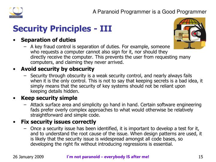 Security Principles - III