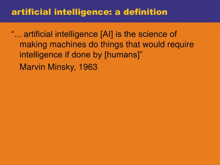 artificial intelligence: a definition