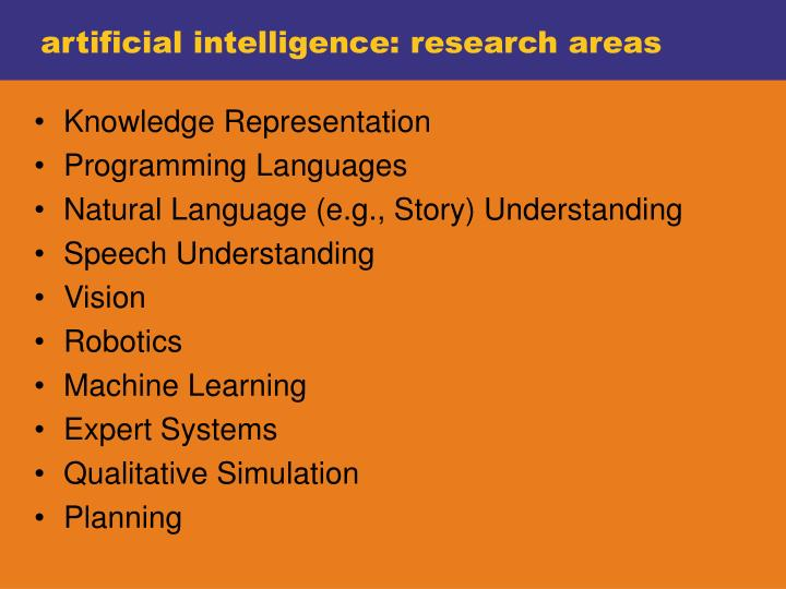 artificial intelligence: research areas