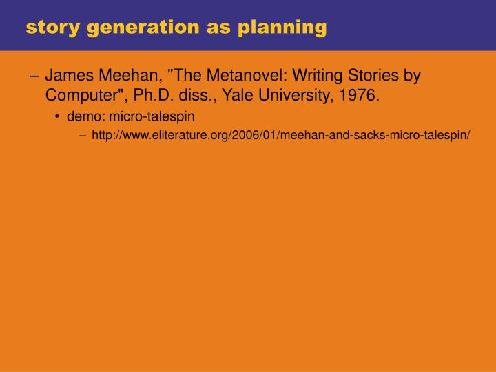 story generation as planning