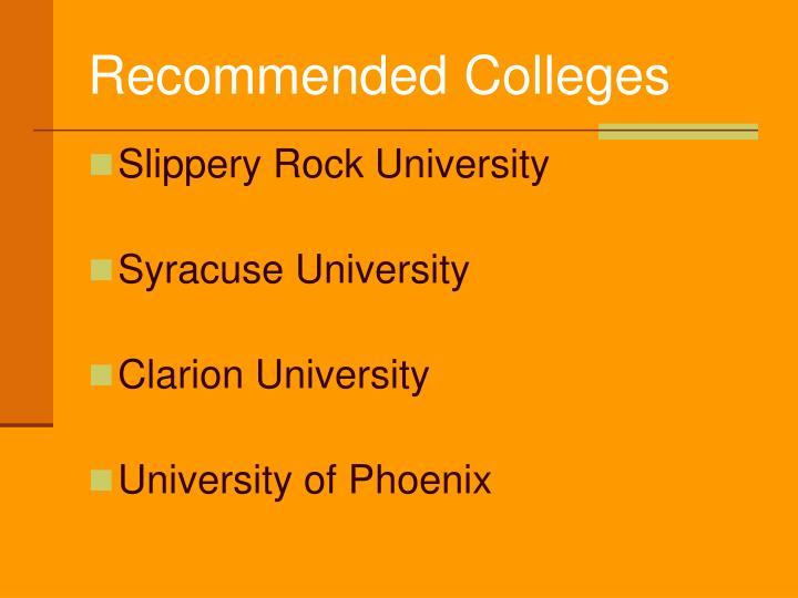 Recommended Colleges