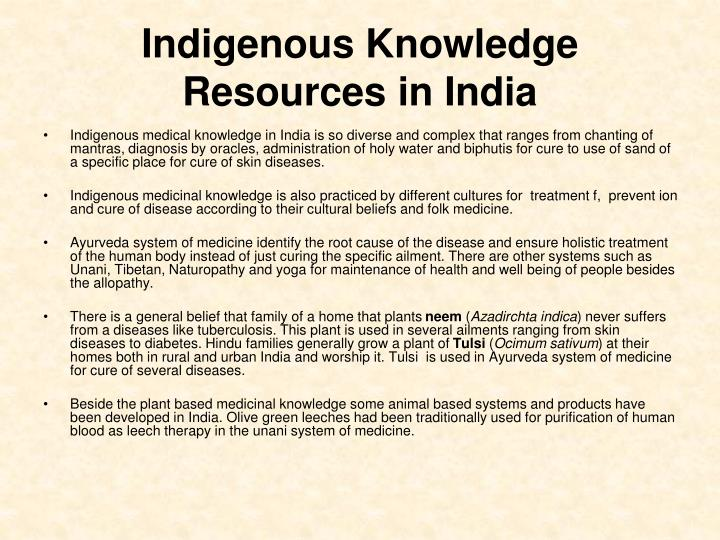 Indigenous Knowledge Resources in India
