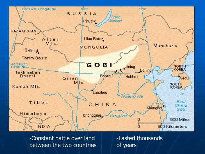 -Constant battle over land