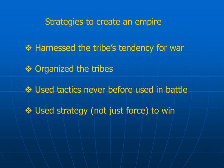 Strategies to create an empire