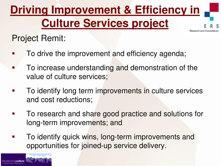 Driving Improvement & Efficiency in Culture Services project
