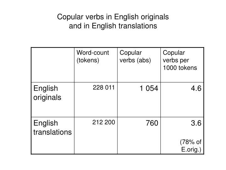 Copular verbs in English originals