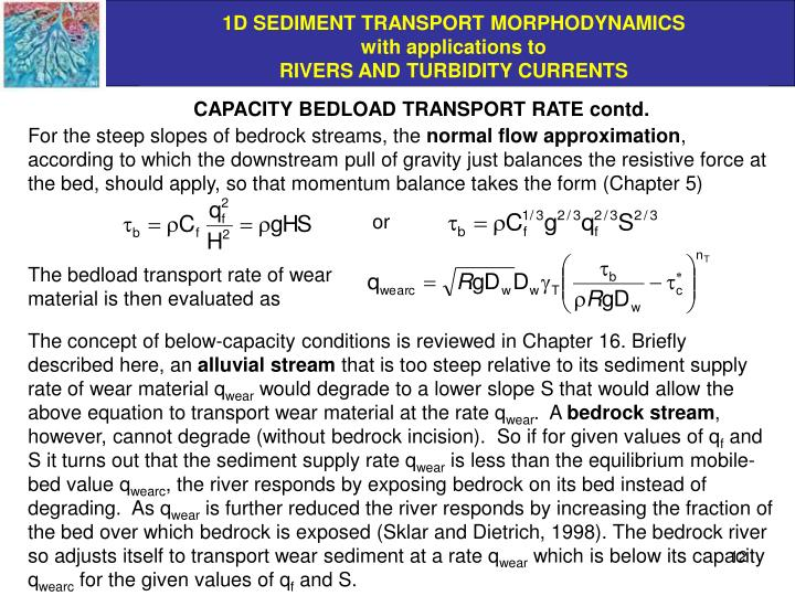CAPACITY BEDLOAD TRANSPORT RATE contd.