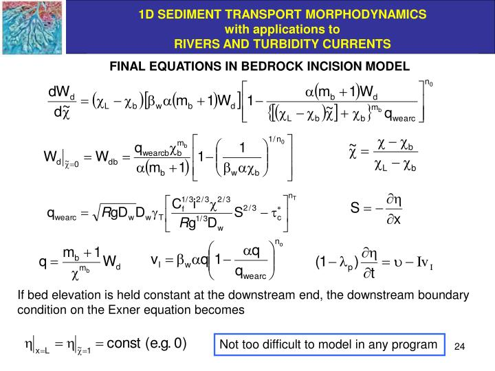 FINAL EQUATIONS IN BEDROCK INCISION MODEL