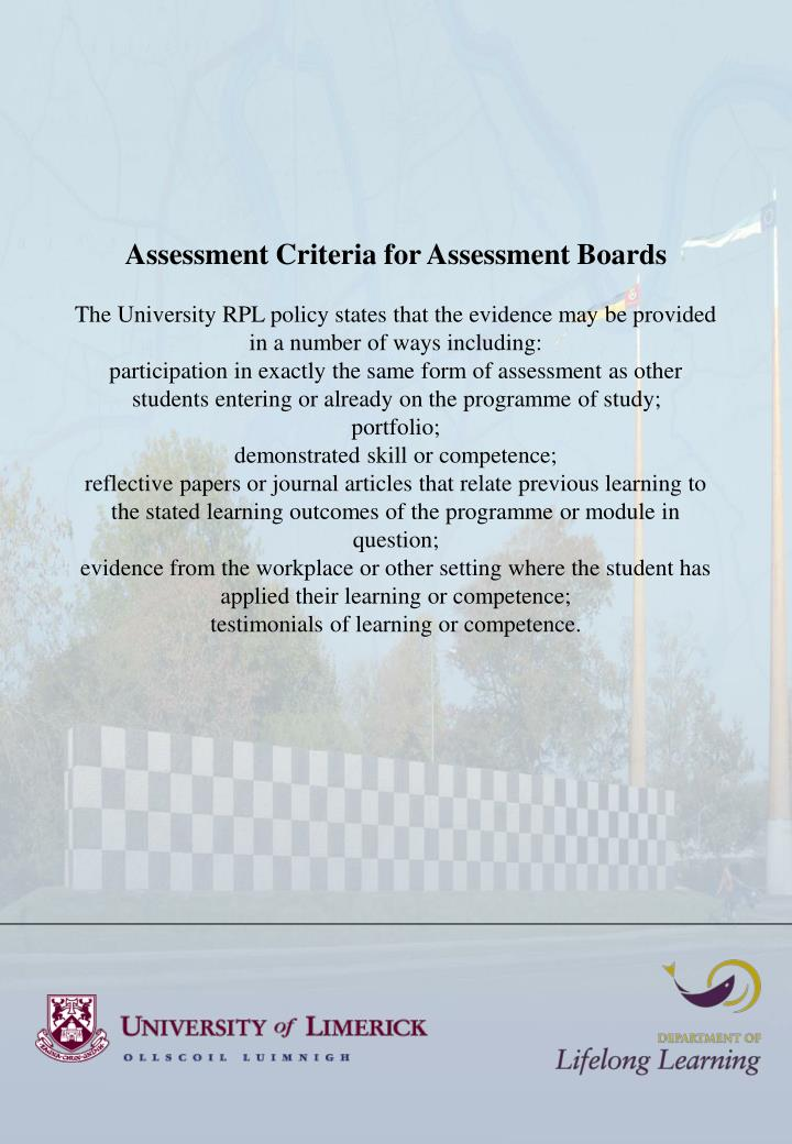 Assessment Criteria for Assessment Boards