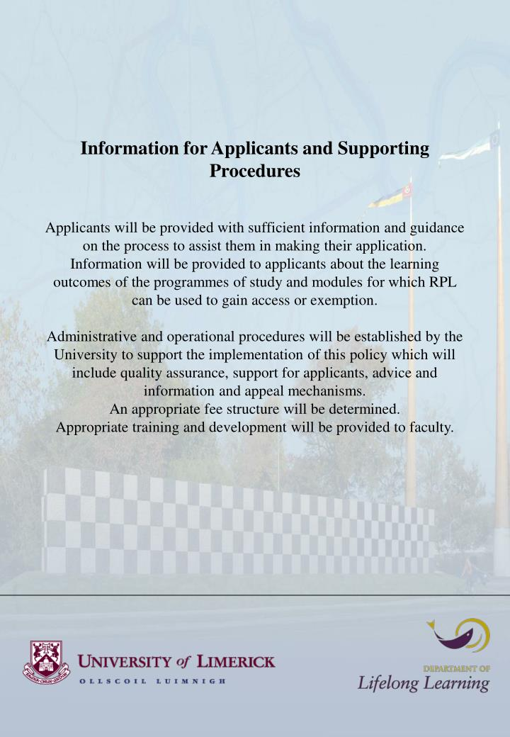 Information for Applicants and Supporting Procedures