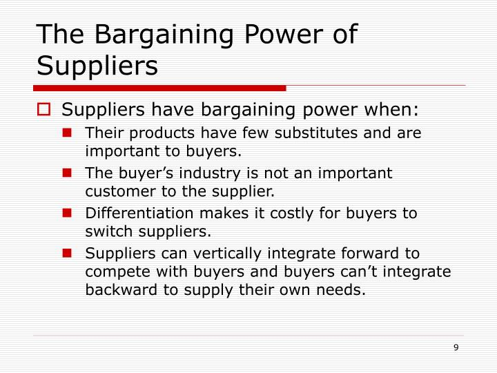 bargaining power of suppliers The bargaining power of suppliers, one of the forces in porter's five force industry analysis framework, is the mirror image of the bargaining power of.