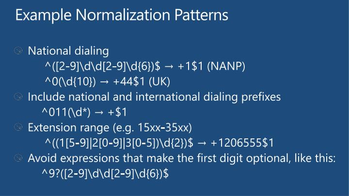 Example Normalization Patterns
