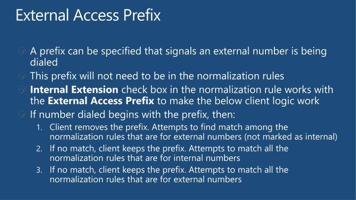External Access Prefix