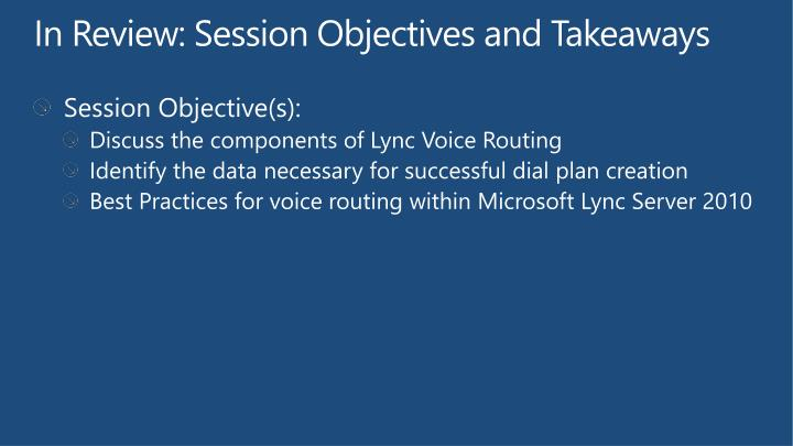In Review: Session Objectives and Takeaways
