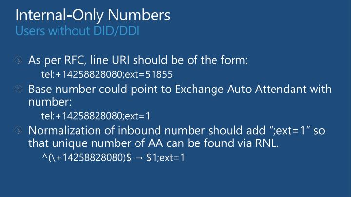 Internal-Only Numbers