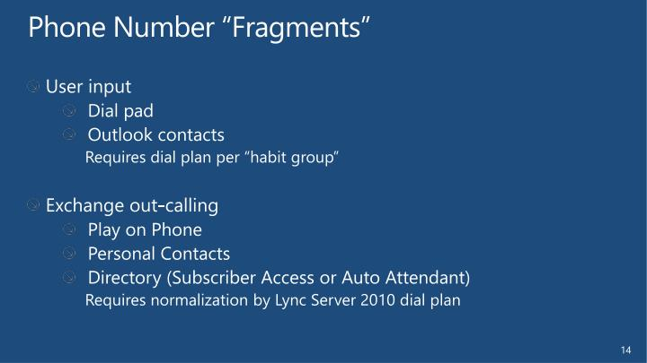 "Phone Number ""Fragments"""