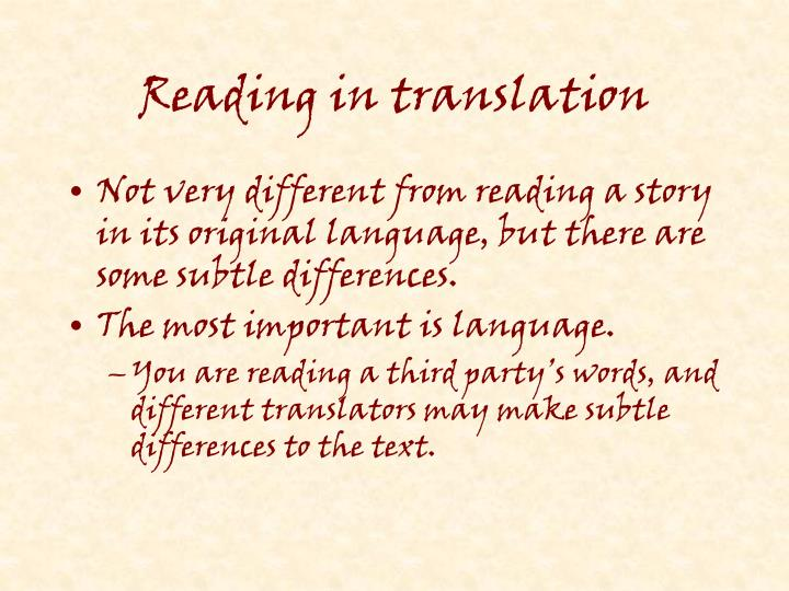 Reading in translation