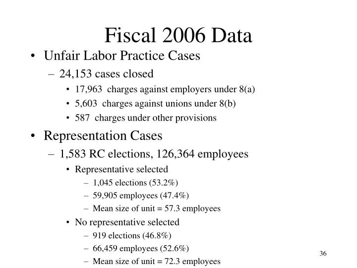 Fiscal 2006 Data