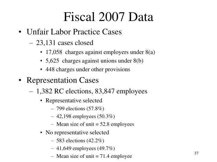 Fiscal 2007 Data