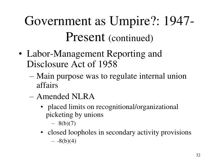 Government as Umpire?: 1947- Present