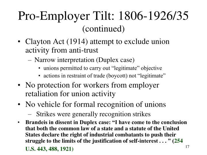 Pro-Employer Tilt: 1806-1926/35