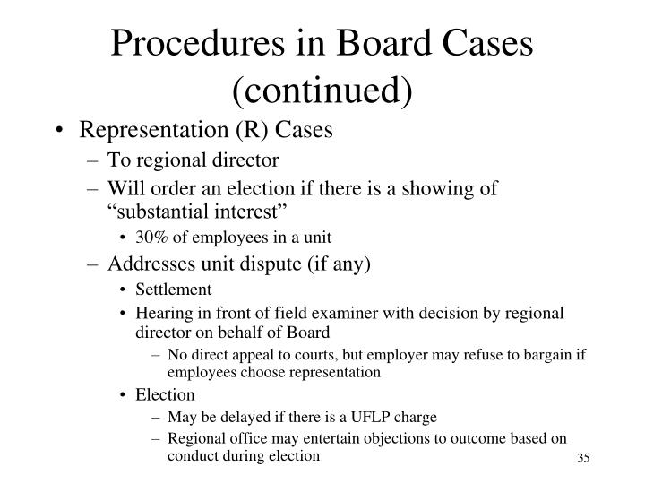 Procedures in Board Cases (continued)