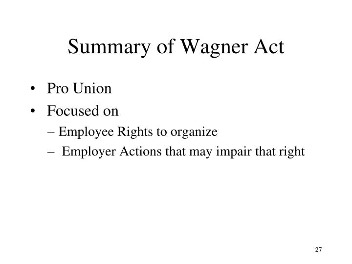 Summary of Wagner Act