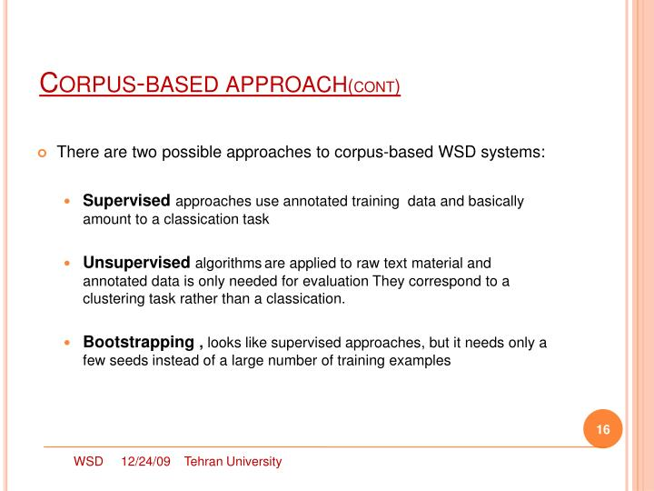 Corpus-based approach