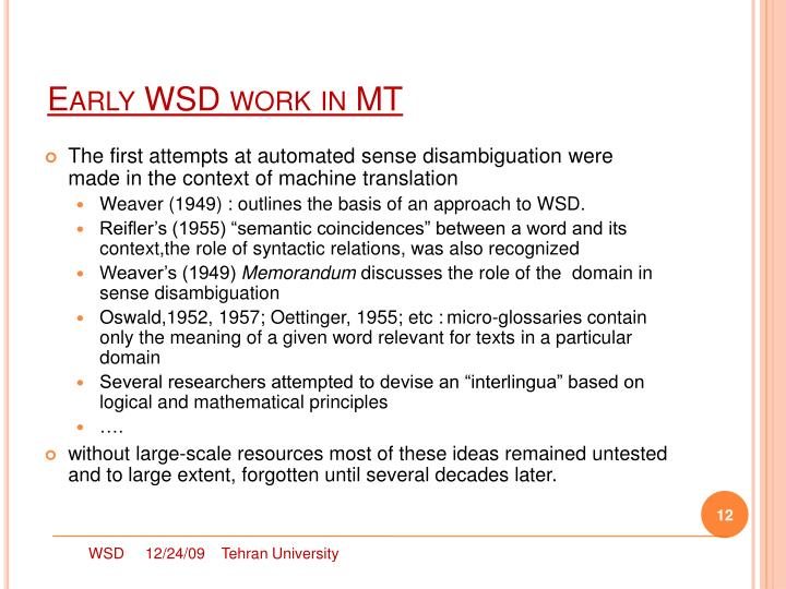 Early WSD work in MT