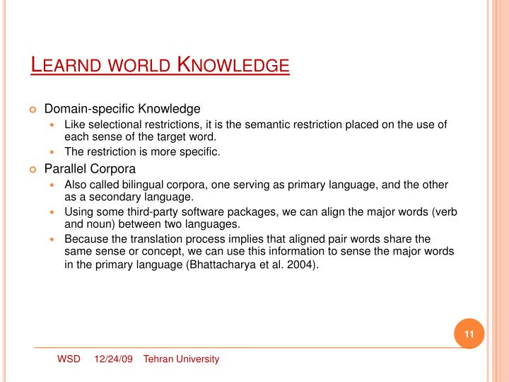 Learnd world Knowledge