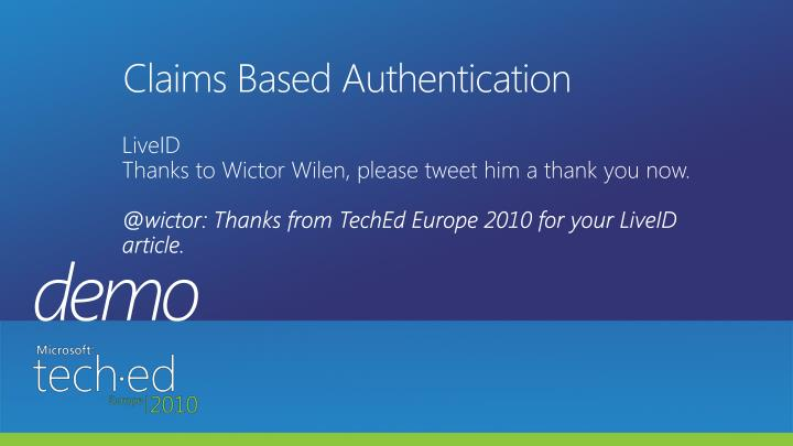 Claims Based Authentication