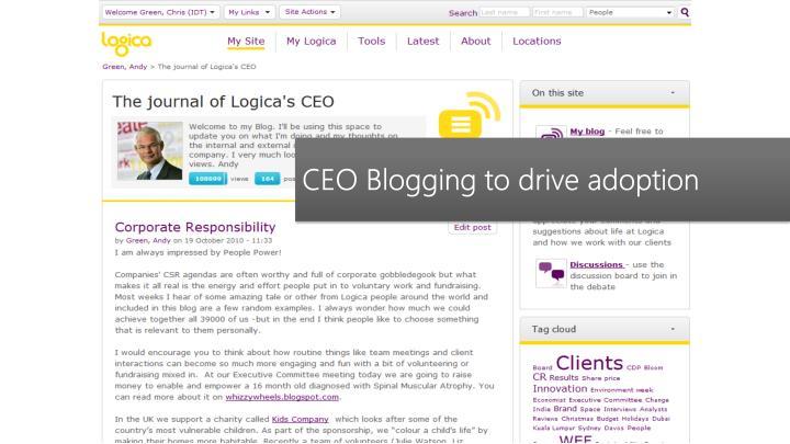 CEO Blogging to drive adoption