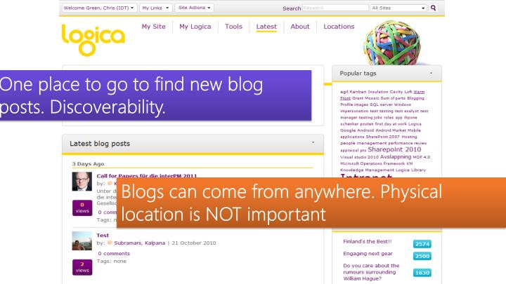 One place to go to find new blog posts. Discoverability.