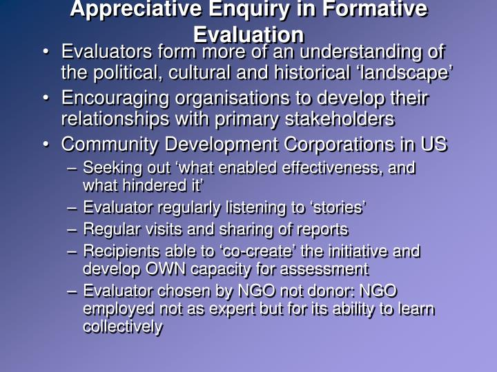 Appreciative Enquiry in Formative Evaluation