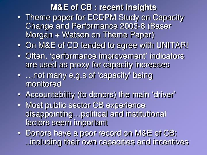 M&E of CB : recent insights