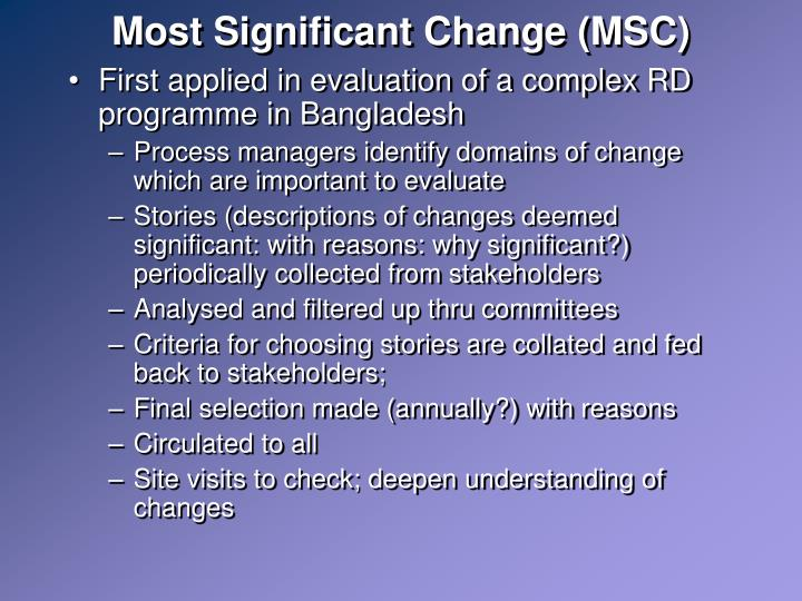Most Significant Change (MSC)