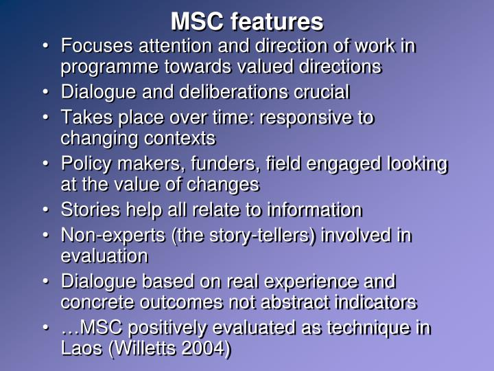 MSC features