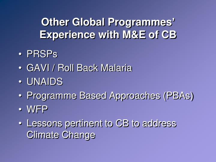 Other Global Programmes' Experience with M&E of CB