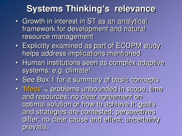 Systems Thinking's  relevance