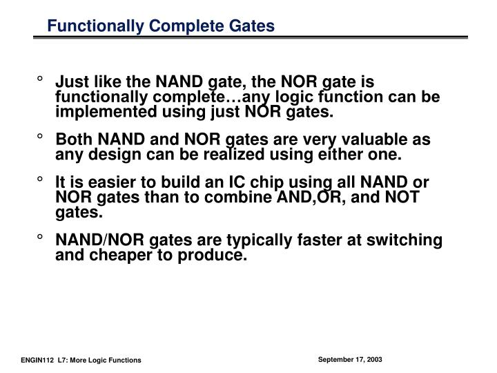 Functionally Complete Gates