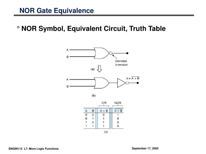 NOR Gate Equivalence