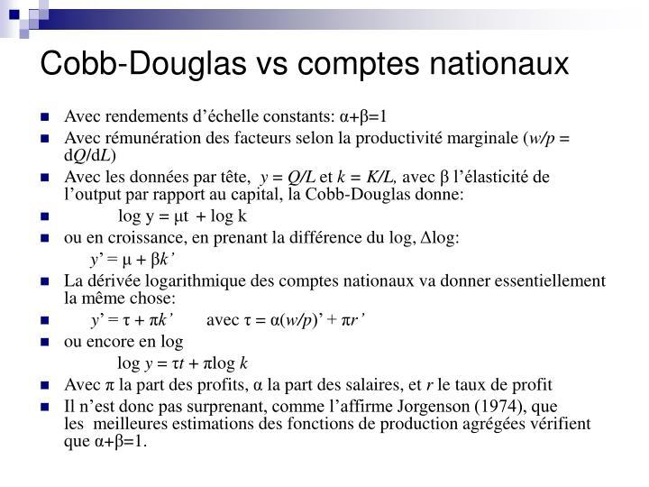 Cobb-Douglas vs comptes nationaux