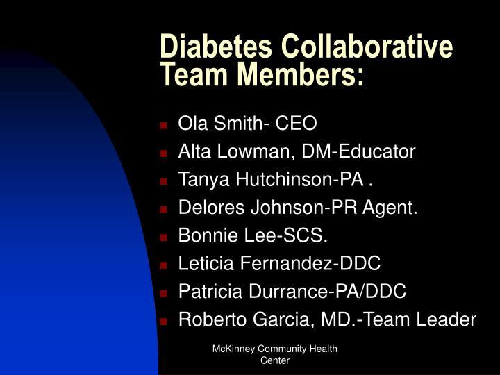 Diabetes Collaborative Team Members: