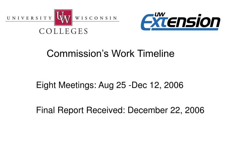 Commission's Work Timeline