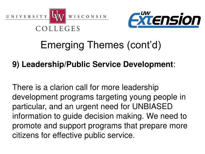 Emerging Themes (cont'd)