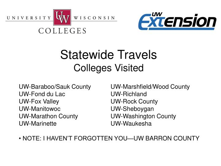 Statewide Travels